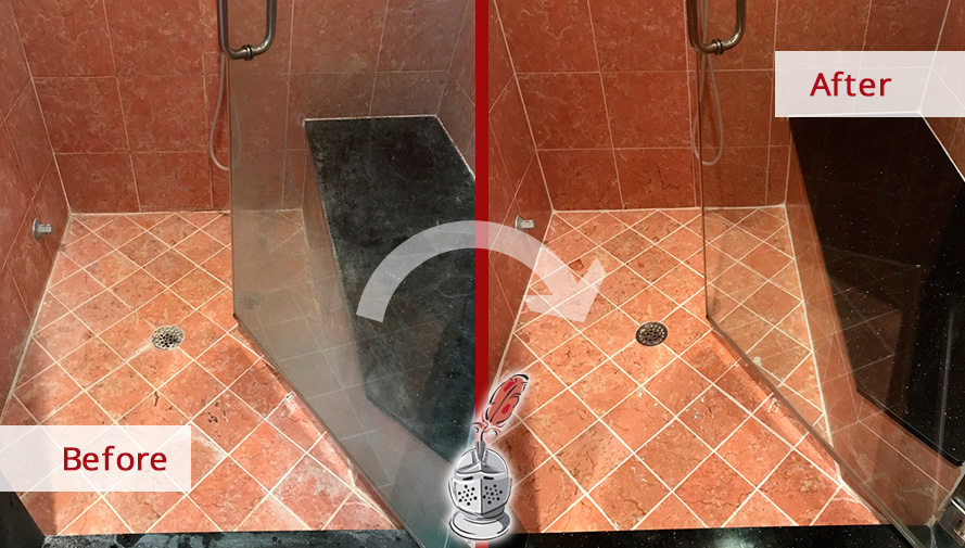 Before and After Picture of a Marble Shower Glass Door Grout Cleaning Service in Belle Meade, Tennessee