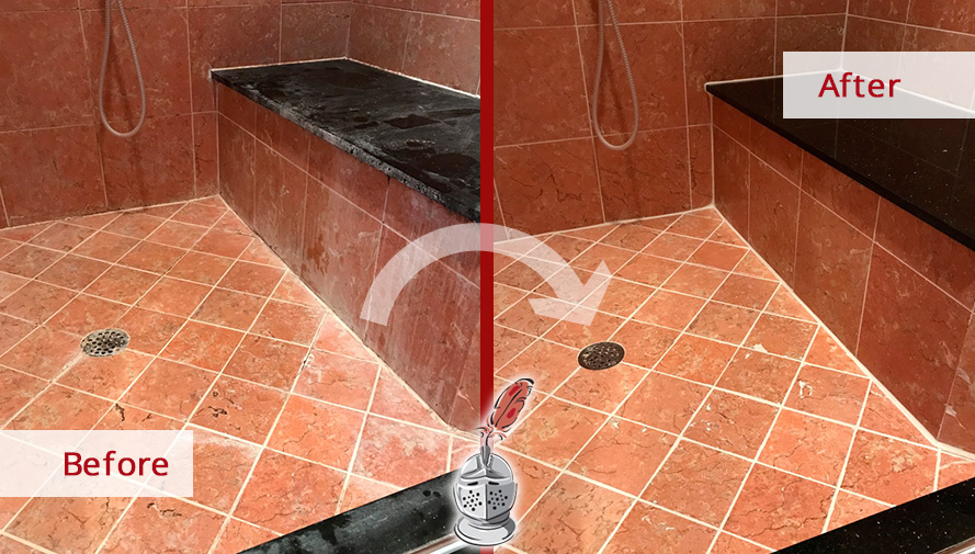 Before and After Picture of a Marble Shower Grout Cleaning Service in Belle Meade, Tennessee