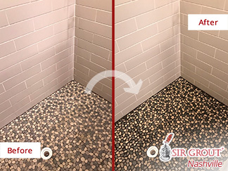 Before and After Picture of a Shower's Pebble Floor Stone Cleaning Service in Nashville, Tennessee