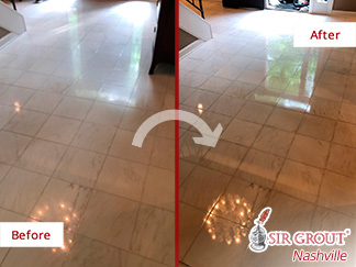 Before and After Picture of a Marble Stone Honing Service in Brentwood, Tennessee