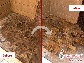 Before and After Picture of a Slate Floor Hard Surface Restoration Service in Green Hills, TN