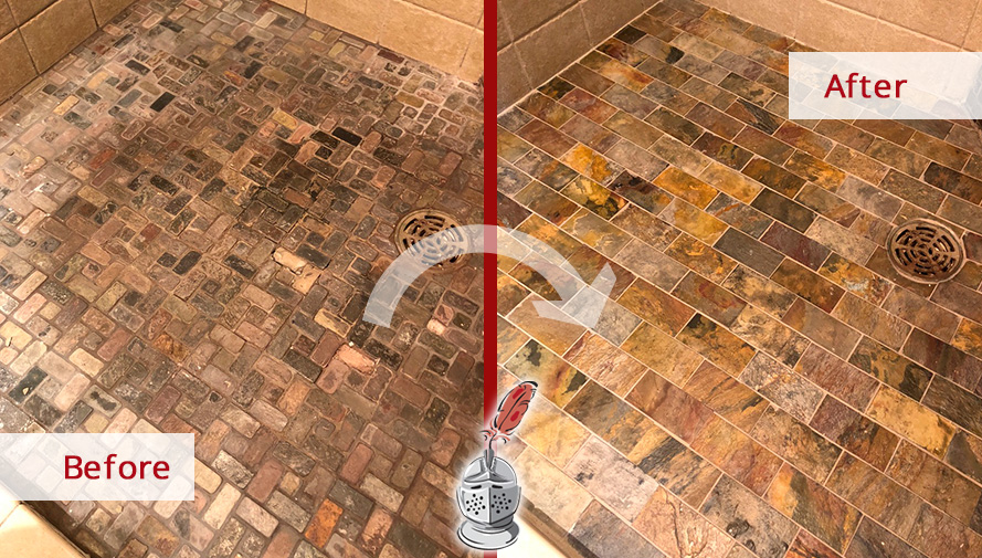 Before and After Picture of a Slate Shower Floor Hard Surface Restoration Service in Green Hills, TN