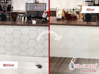 Before and After Picture of a Tile Coffee Shop Grout Recoloring Service in Franklin, Tennessee