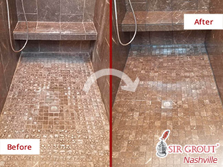 Before and After Picture of a Marble Shower Stone Cleaning Service in Nashville, Tennessee