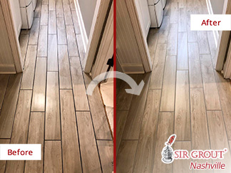 Before and After Picture of a Grout Recoloring Service in Franklin, Tennessee