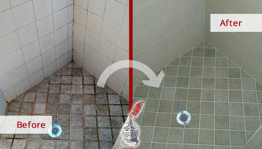 Before and After Picture of a Shower After Our Tile and Grout Cleaners Service in Spring Hill, TN