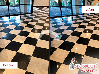 Before and after Picture of This Gorgeous Entryway Floor after a Stone Polishing Service
