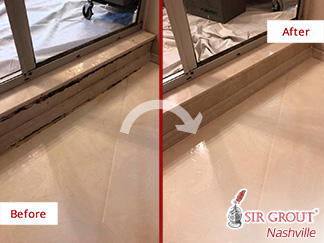 Before and After Picture of a Cultured Marble Shower Caulking Service in Franklin, TN