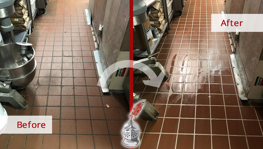 Before and After Picture of a Commercial Kitchen Floor Grout Recoloring Service in Franklin, TN