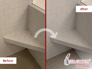 Before and After Picture of a Bathroom After Our Tile and Grout Cleaners Service in Nashville, TN
