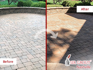 Before and after Picture of a Stone Sealing Job in Brentwood, TN