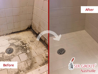 Before and After Picture of a Shower Transformation Thanks to Our Tile and Grout Cleaners in Brentwood, TN