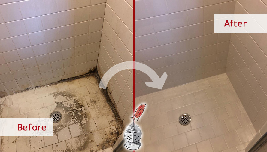 Before and After of a Shower Transformation Thanks to Our Tile and Grout Cleaners in Brentwood, TN