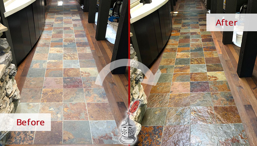 Image of a Hallway Slate Floor Before and After A Stone Cleaning Service in Belle Meade, TN