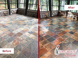 Image of a Sunroom Slate Floor Before and After A Stone Cleaning Service in Belle Meade, TN
