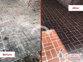 Before and After Picture of This Brick Surface in Brentwood, TN