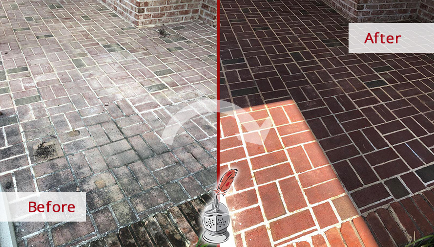 Brick Surface Before and After a Stone Sealing Process