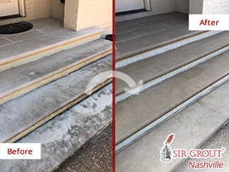 Before and After Picture of a Stone Cleaning Job in Brentwood, TN
