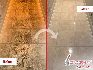 Image of a Travertine Floor Before and After a Stone Cleaning Service in Hendersonville, TN