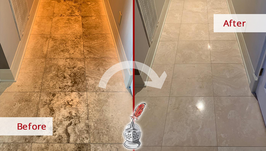 Image of a Travertine Floor Before and After a Stone Cleaning Job in Hendersonville, TN
