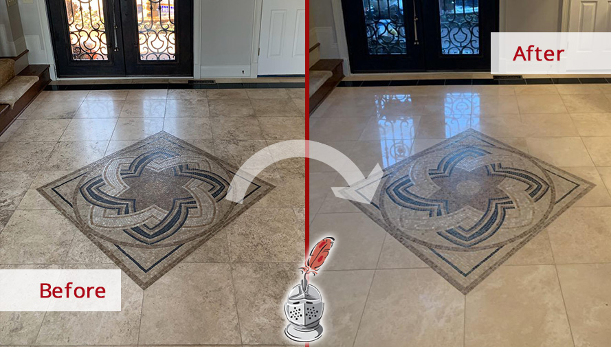 Before and After Picture of a Travertine Floor Stone Cleaning in Hendersonville, TN