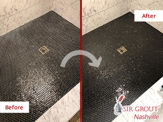 Picture of a Black Shower Floor Before and After a Tile Sealing Service in Nashville, TN