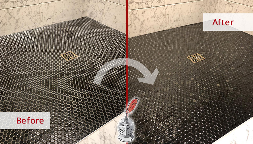 Before and After Picture of a Black Shower Floor Tile Sealing Service in Nashville, TN
