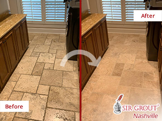 Before and After Picture of a Grout Sealing Service in Brentwood, TN