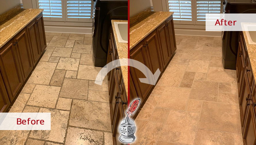 Travertine Floor Before and After a Grout Sealing Job in Brentwood, TN