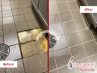 Before and After Picture of a Grout Cleaning Service in Franklin, TN