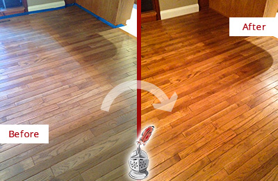 Before and After Picture of a Green Hills Wood Sand Free Refinishing Service on a Dull Floor to Recover Its Sheen