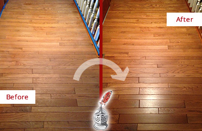 Before and After Picture of a Nolensville Wood Sand Free Refinishing Service on a Dull Hallway