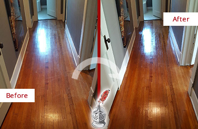 Before and After Picture of a Green Hills Wood Sand Free Refinishing Service on a Floor to Eliminate Scratches