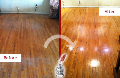 Before and After Picture of a Green Hills Wood Sand Free Refinishing Service on a Stained Floor