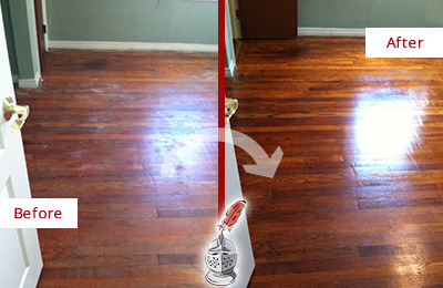Before and After Picture of a Green Hills Wood Sand Free Refinishing Service on a Dull Floor to Remove Stains