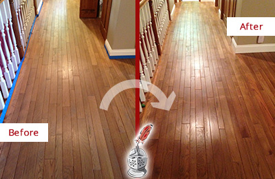 Before and After Picture of a Green Hills Wood Sand Free Refinishing Service on a Worn Out Floor