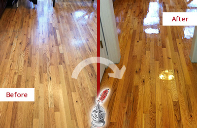 Before and After Picture of a Green Hills Wood Sand Free Refinishing Service on a Worn Out Hallway