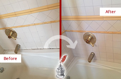Before and After Picture of Tub Caulking on a Shower with Mold and Mildew