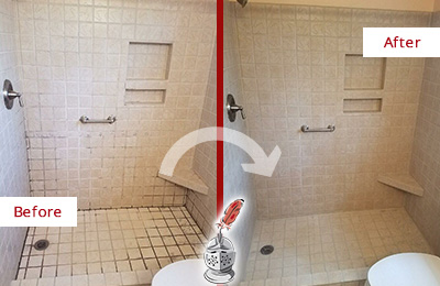 Before and After Picture of a Shower Grout Sealing on a Porcelain Tile Shower