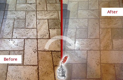 Before and After Picture of Tumbled Travertine Floor Honed and Polished to Remove Dirt