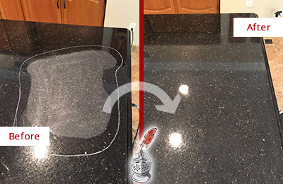 Before and After Picture of Black Granite Countertop Sealed to Reverse Scratching