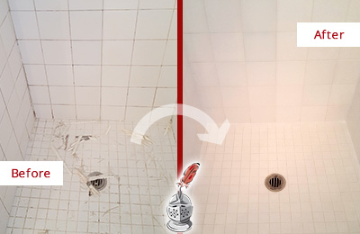 Before and After Picture of a Berry Hill Bathroom Re-Caulked To Repair Damaged Caulking