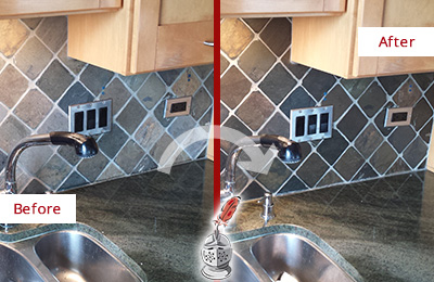Before and After Picture of a Berry Hill Backsplash Caulked to Fix and Prevent Water Leaks