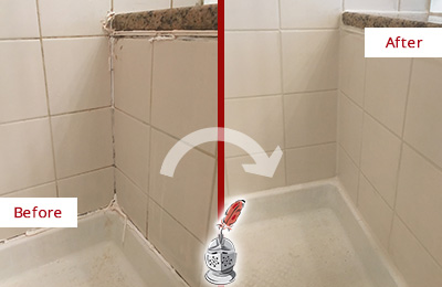 Before and After Picture of a Berry Hill Shower Caulked to Repair Damaged Caulking