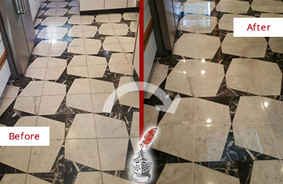 Before and After Picture of a Dull Bellevue Marble Stone Floor Polished To Recover Its Luster
