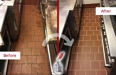 Before and After Picture of a Murfreesboro Restaurant Kitchen Floor Sealed to Remove Soil