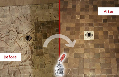 Before and After Picture of a Stained Brentwood Marble Shower Floor Cleaned to Remove Etching