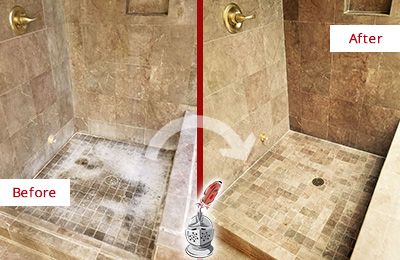 Before and After Picture of a Brentwood Travertine Shower Cleaned to Eliminate Water Spots