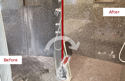 Before and After Picture of a Thompson's Station Granite Shower Stone Sealed to Avoid Mineral Deposits