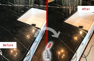 Before and After Picture of a Thompson's Station Marble Kitchen Countertop Stone Sealed to Avoid Water Damage